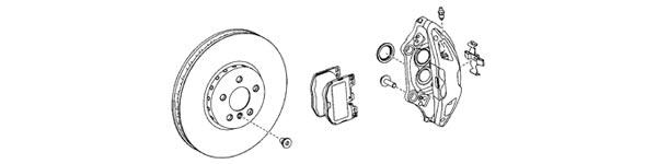 2020 Supra OEM Brake, Rotor and Caliper Diagram
